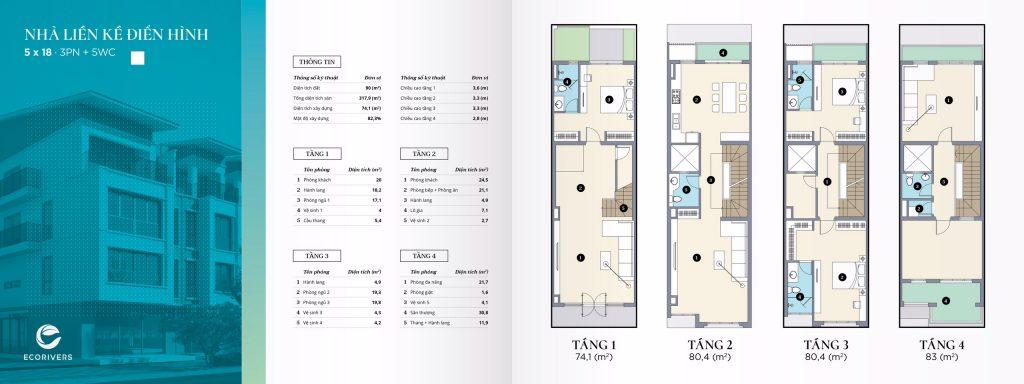 Thiết kế nhà liền kề điển hình 90m2
