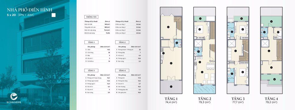 thiết kế nhà phố điển hình ecorivers 1